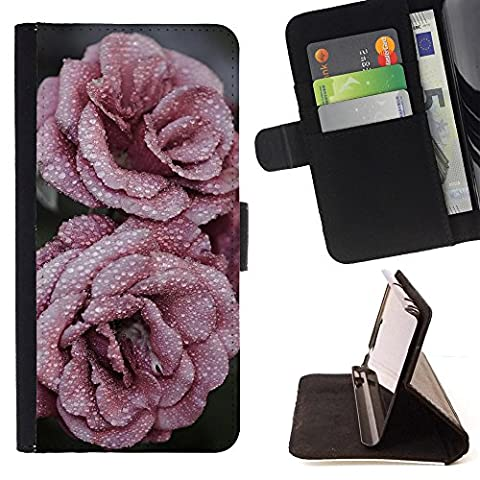 LG G4 PRO Brieftasche Handyhülle - Roses Petals Drops Frost