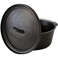 Big-BBQ DO 9.0 Dutch-Oven aus Gusseisen | Fertig eingebrannter 12er Koch-Topf aus Gusseisen | mit Deckelheber, Deckel- oder Topfständer | ohne Füße