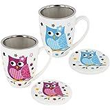 Juego de taza de té–Taza de té con filtro + Tapa Porcelana Diseño Búho 6piezas 11cm)