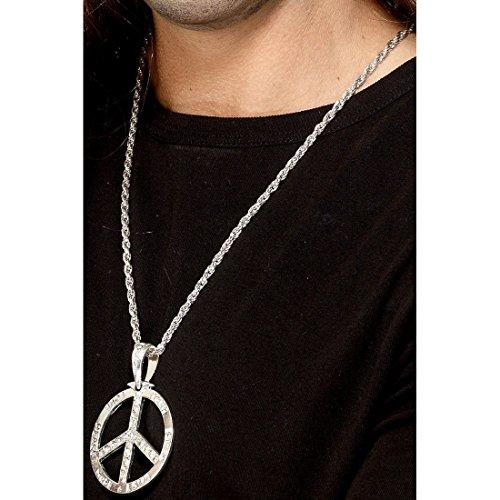 Hippie Halskette 70er Jahre Halsschmuck 44 cm Silberne Friedenskette Lange Peace Kette Karneval Accessoires Mottoparty Schmuck 60er Jahre Silberkette