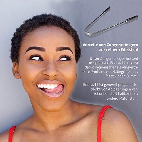 Zungenreiniger Zungenschaber ausreinemEdelstahlzum Mundgeruch bekämpfen von YOGAMEDIC – Zungenreinigung – Frischer Atem – Zungenbürste – Ayurveda - 5
