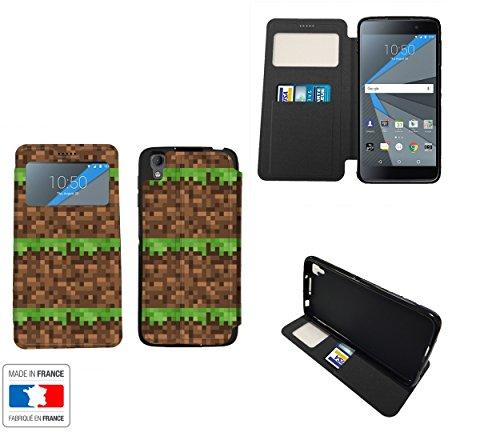 BlackBerry DTEK50 Style Construction Terrain Grass Heart Map - Jeux Collection Pattern Handytasche Schutzhülle Hülle Klapptasche Bookcase Buchtasche Case + mit Sichtfenster Blackberry Maps