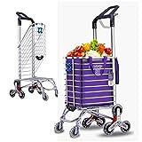 Love lamp Panier D'achat Petit Chariot De Traction Escalier Pliant Chariot À Main Remorque De Brouette Ancienne (Color : Purple)