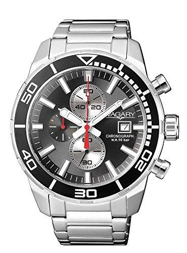 Vagary by citizen: orologio uomo crono in acciaio e quadrante nero, collezione acqua 39, ia9-616-61