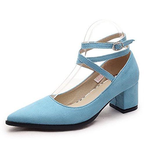 AgooLar Femme Suédé à Talon Correct Pointu Couleur Unie Boucle Chaussures Légeres Bleu
