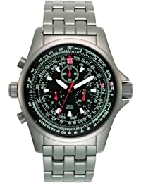 Torgoen - T1 04 02 B04 - Montre d'aviateur Homme - Quartz chronographe - Titanium - Bracelet en acier