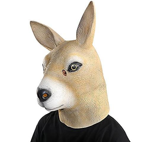 XIAO MO GU Masque de Tête d'animal Kangourou en Latex, Masque Décorations de Costumes Halloween Party pour