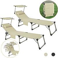 SoBuy OGS36-MIX2,Set de 2 Tumbonas reclinable Silla para Playa Piscina Jardín Plegable,con Parasol Inclinable,ES