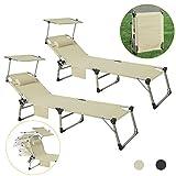 SoBuy 2-er Set OGS36-MIx2 Sonnenliege aus Alu Liegestuhl mit Sonnenschutz Gartenliege mit Kopfkissen und Tasche, 4 Fach Verstellbar Beige, BHT ca: 220x37x60cm