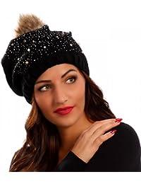 Damen Strickmütze Strass & Perlen Oversize Bommelmütze Beanie