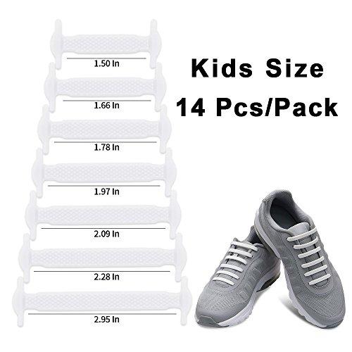 Homer No Tie Shoelaces für Kinder und Erwachsene Wasserdichte Silikon flache elastische Sportlauf Schnürsenkel mit Multicolor für Sneaker Stiefel Brettschuhe und Freizeitschuhe Kid Size White