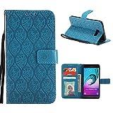 Yoota Cover Galaxy A5 2016, Custodia in Pelle [Flip Kickstand] Premium PU Portafoglio Custodia [Fessure di Carta] 3D Fiore di Vite Sottile Wallet Case para Samsung Galaxy A5 2016 - Blu