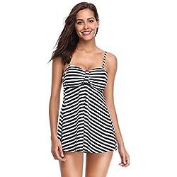 LALAVAVA Mujer de Dos Piezas Tankini Traje de baño Wave Dot Raya de Estampado Nadar Vestir con Cortos(Negro Raya,S)