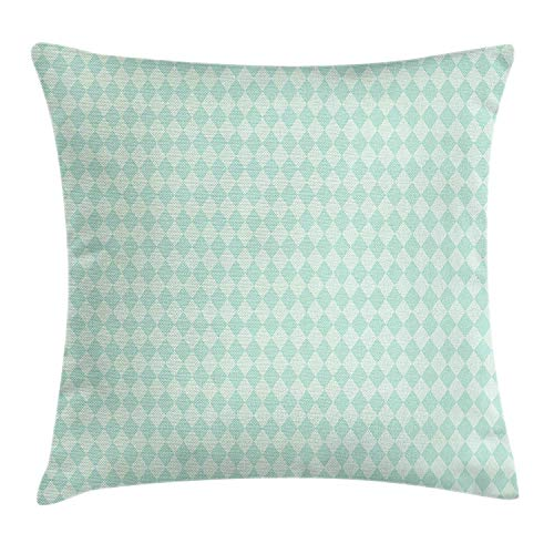 DHNKW Argyle Throw Pillow Cushion Cover, Soft Toned Pastel Diamond Shapes with Old Fashioned Vintage Argyle Motif, Decorative Square Accent Pillow Case, 20 X 20 inches, Mint Green and Seafoam Argyle Apple