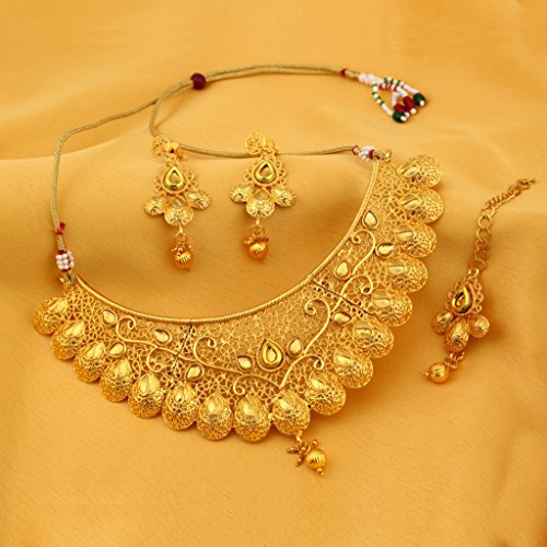 Gold Plated Silver Necklace Set 290 00: Sukkhi Jewellery Set For Women (Golden)(N71789GLDPM1250
