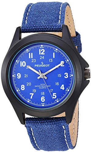 Peugeot Women's 'Aviator' Quartz Metal and Leather Casual Watch, Color:Blue (Model: 2055BL)