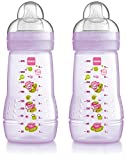 MAM Baby Bottle 270ml 2+ Months Pack of 2 - Available In Pink Or Blue (Pink/Purple) Designs may vary