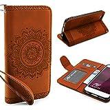 Urcover® Apple iPhone 6 / 6s Handy Schutz-Hülle | Lotus Pattern Wallet Braun | Kartenfach & Standfunktion | Flip Case | Trendy Tasche | Cover Schale | Smartphone Zubehör