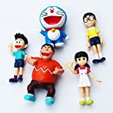 #10: Toy Dreams Pack of 5 Dore Monn Nobita Generic Anime Cartoon Characters Cute Statues Figurines Mini Toy Figures (Size: 5-6 cms)