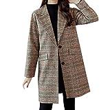 SamMoSon Blouson Femme Hiver Grande Taille Manteaux Femme Mode Plaid Ancien Hiver Chaud Longue Manche Bouton De Laine Kaki XL