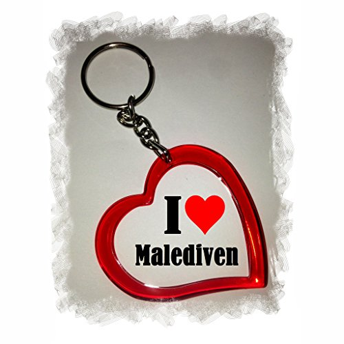 """Preisvergleich Produktbild Exklusive Geschenkidee: Herzschlüsselanhänger """"I Love Malediven"""", eine tolle Geschenkidee die von Herzen kommt - Rucksackanhänger- Liebesanhänger- Weihnachts Geschenktipp"""