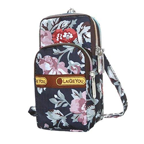 Longra Donna Stampa casuale, borsa a mano, tacche obliqua, sacco a collo appeso, borsa nera Multicolore_A