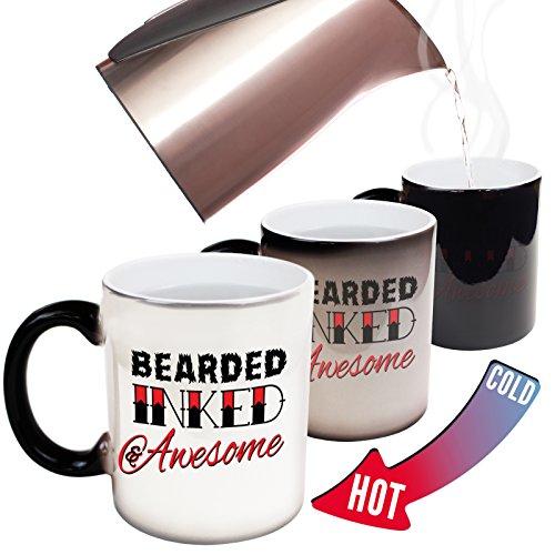 Funny Mugs - 123t Beard Inked Awesome - Beard Moustache Grooming Men Manly Joke Humour christmas secret santa HEAT COLOUR CHANGING NOVELTY MUG - GIFT BOXED