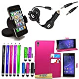 Accessory Master 15 in 1 value Mega pack Rosa pu cuir Housse coque pour Sony xperia T3 D5103