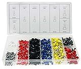 625 x Aderendhülsen-Sortiment/Aderendhülsen-Set - isoliert - Querschnitt 0,5mm² bis 10,0mm² Länge 8-12mm - Farbe Weiss, Gelb, Rot, Blau, Schwarz, Grau (im wiederverwendbaren Aufbewahrungsbox)
