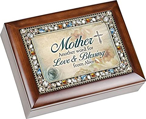 Mother Another Word for Love & Beauty Mom Jewel Musical Music Jewelry Box with Dark Wood Finish Plays Amazing Grace by Cottage Garden