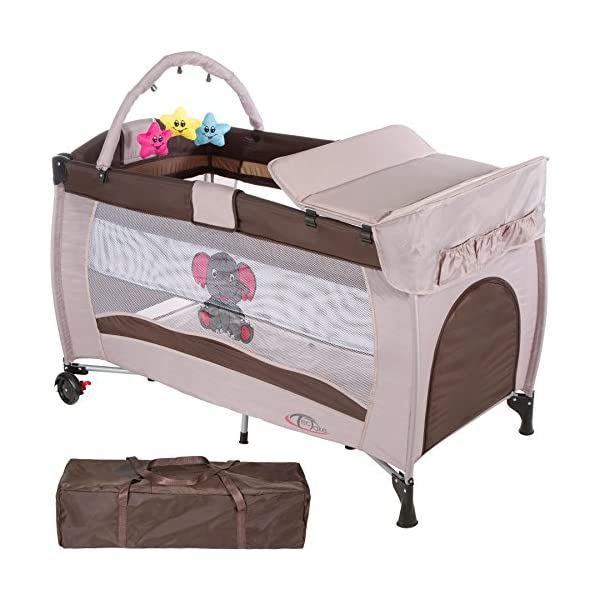 TecTake Portable Child Baby Travel Cot Bed Playpen with Entryway and Toys New - Different Colours - (Coffee | No. 402203)  Suitable for children up to an age of 36 months Bed Size: 128 cm length, 67 cm width, 81 cm height Changing mat: 68 cm length, 51 cm width 1