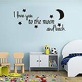 Ich liebe dich bis zum Mond und zurück Classics Love Quotes DIY Wandaufkleber für Wohnzimmer Dekoration Tapete Aufkleber Kunst Dekor 57x25 cm