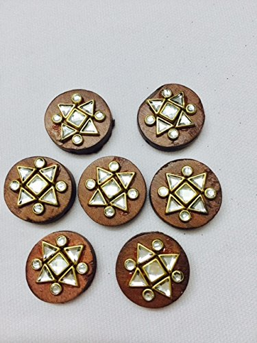 6 Wood buttons with beads and stone for dresses Kurtis hobby