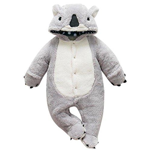 Baby Bodysuit Footies Longra Baby Jungen Mädchen Dicke Warme Cartoon Tier Hoodie Strampler mit Kapuze Unisex Baby Schneeanzüge Winter Fleece Jumpsuit Overall Outfit (66CM 9Monate, Gray) (Stricken Baby-jungen Pullover)