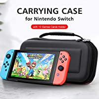RuleaxAsi Carrying Case for Nintendo Switch with 10 Games Cards Holder EVA Hard Shell Handbag for Nintendo Switch Console Joy-Con Controller Accessories