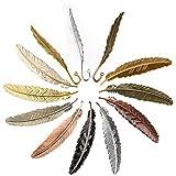 Gydandir 12pièces plumes en métal signets Feather Forme livre Marker assorties Marque-page en métal (2types)
