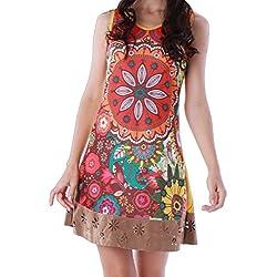 Panasiam, vestido, túnica colorida 100% de algodón auténtico en S, M, L y XL, edición limitada –2016(producto de boutique) marrón S