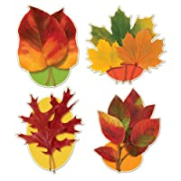 Beistle 4-Pack Decorative Packaged Autumn Leaf Cutouts, 16-Inch