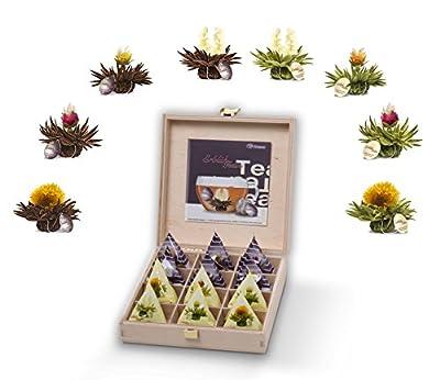 Teelini fleuri Creano, coffret Cadeau dans le thé boîte en bois – 12 fleurs de thé en format tasse - thé blanc et noir