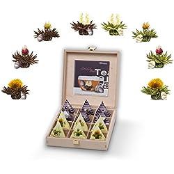 Creano Teelini Teeblumen im Tassenformat, Geschenkset in Teekiste aus Holz, 12 ErblühTeelini in 8 Sorten | Weißer Tee & Schwarzer Tee