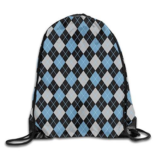 fhjhfgjghfjghfj Delicate RuckSack mit Kordelzug String Bags Blue Brown Argyle Fitness100% Polyestershoulder Bag -