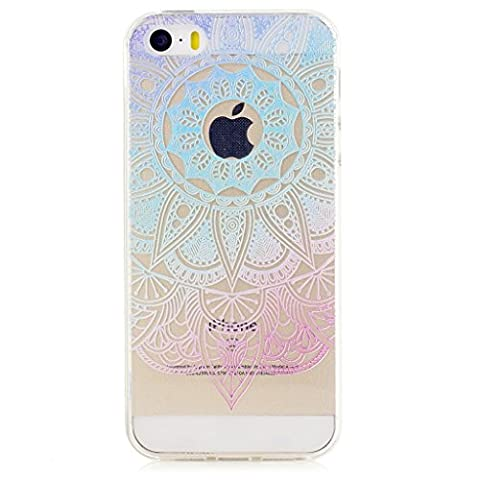 MUTOUREN iPhone SE/5/5S TPU case cover Shockproof Excellent feel Non-slip Clear Anti-Scratch Slim Fit Case-gradient blue flower