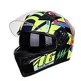 JL-Q Motocross Helme Full Face Dual Sport Helme ECE Mit Dual Visisoren Zugelassen,B,XXL