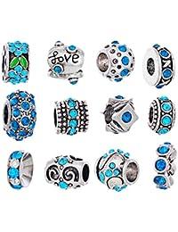 Souarts Mixte Couleur Argent Vieilli Perles Europeennes avec Strass Bleu pour Bracelet Lot de 12pcs
