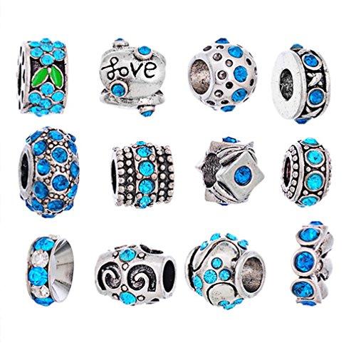 Souarts - Cuentas de plata para pulsera, diseño flor, color varios colores...