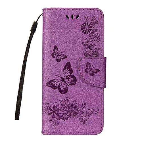 Samsung Galaxy S9 Hülle,Stilvoller Handyhülle Fall GOGME [Geprägte Relief Serien] Retro geprägte Schmetterlings Blume Schutzhülle,Einschubfächer für Karten,Magnetische Verschluss,Flip Bracket Funktion Senior PU-Leder Brieftasche Telefon-Kasten.lila