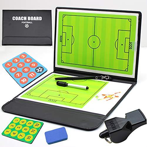 QQRH Fußball Taktiktafel Coach Board Coach Mappe Professional Fußball Trainer,Stifte,Radiergummi Taktikmappe für die Spielanalyse oder Taktikschulung Professional Coach-Board mit Magnete