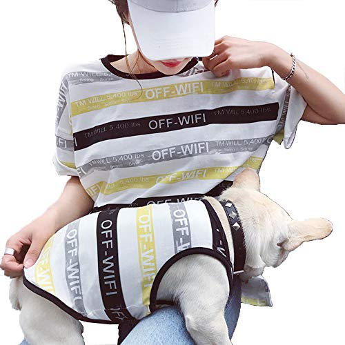 (DJVD Hundebekleidung Hot Spring Summer Haustier Hundebekleidung Für Hunde 4 Farbe Striped Dog Weste Für Katze Small Medium Hunde S-XL Auch Erwachsene Freesize,Gray,S)