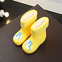 ZWXDMY Wellies,Wellington Children Winter Children Of cotton velvet Non Slip Yellow Cute Boots Of cotton Unicorn shape, easy to clean Waterproof, Indoor Outdoor Shoes Casual