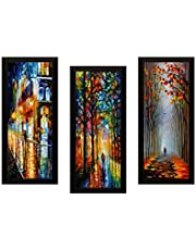 SAF Set of 3 Modern Art Digital Reprint 17 inch x 24 inch Painting (SAPL10)